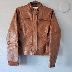Maralyn & Me Cognac Brown Leather Zip Up Jacket